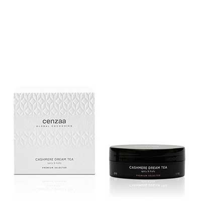 Cenzaa Global Cocooning Cashmere Dream Tea zwart doosje 50gr in luxe verpakking. Met deze verwarmde thee geeft u en boost aan uw immuunsysteem en gaat u huidveroudering tegen.