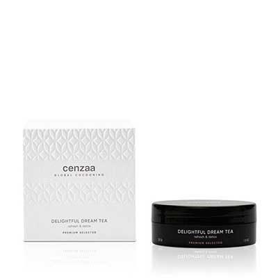 Cenzaa Global Cocooning Delightful Dream Tea Zwart doosje 55gr inclusief luxe verpakking. Met deze verfrissende thee reinigt u het lichaam en laat u stress verdwijnen.